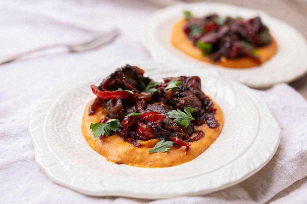 Spiced Chicken Liver, Peppers & Harissa Polenta