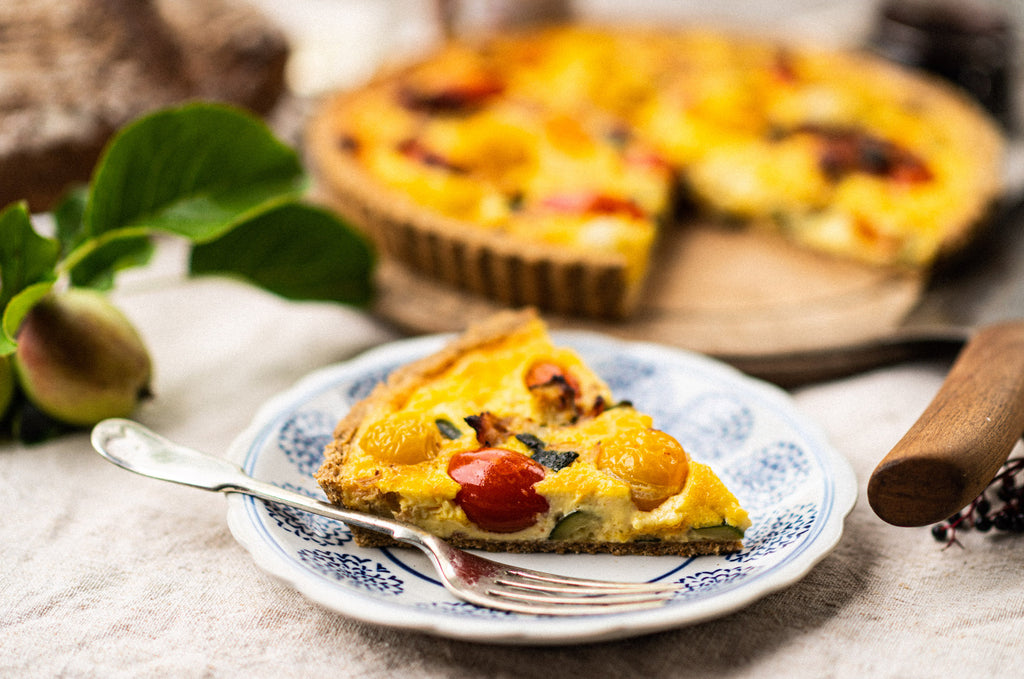 Bacon, Courgette and Tomato Tart with Spelt Pastry