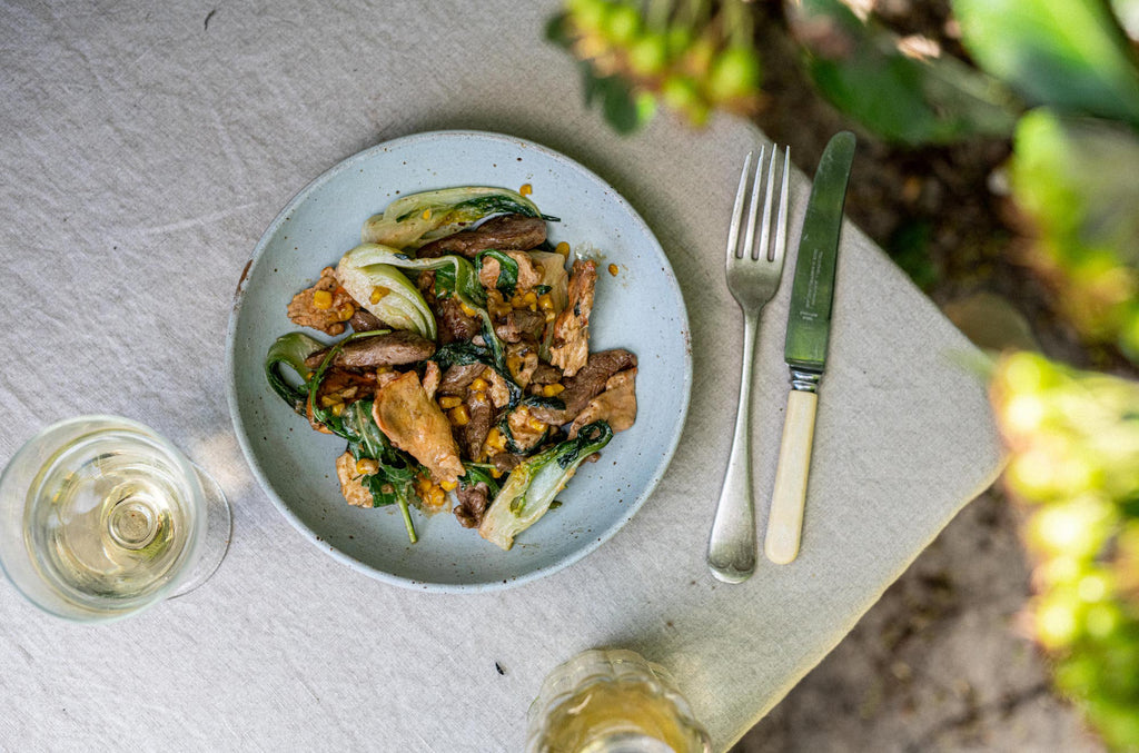 Stir-fried Duck with Wild Mushrooms and Pak Choi