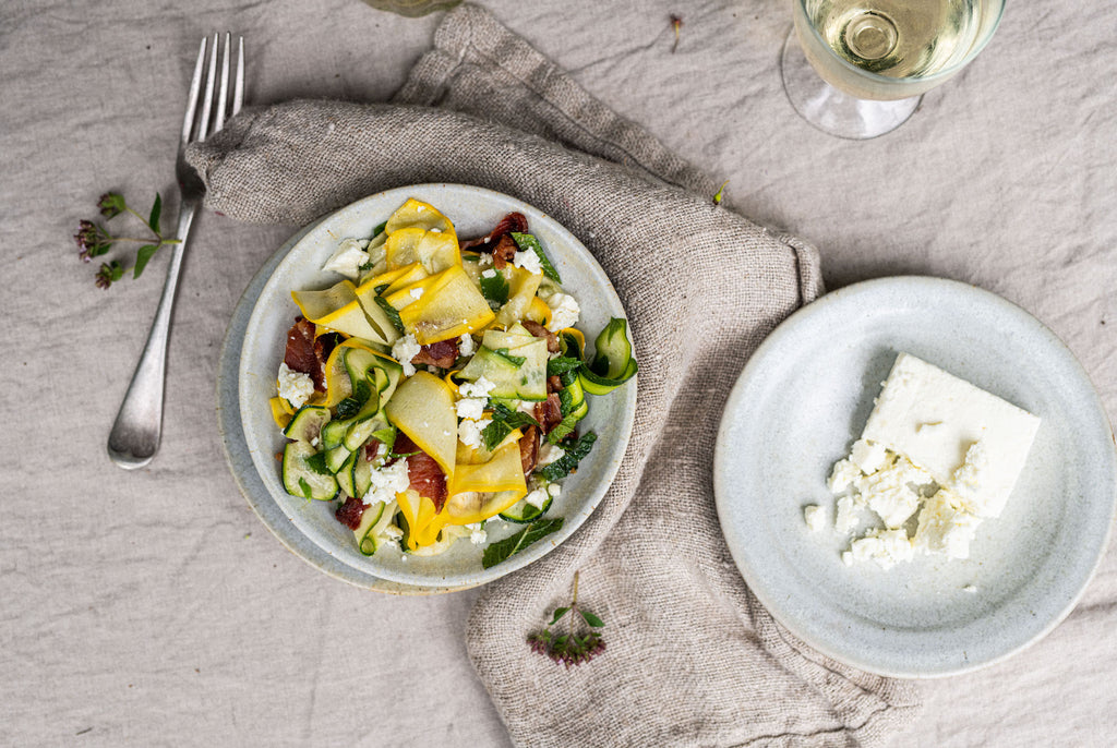 Courgette Ribbons with Bacon & Feta Salad
