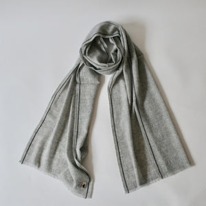 Handwoven Cashmere Scarf Grey with black stripe