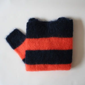 Mohair jumper Navy and Orange Stripe