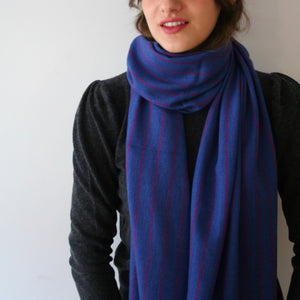Handwoven Cashmere Scarf Blue with crimson stripe