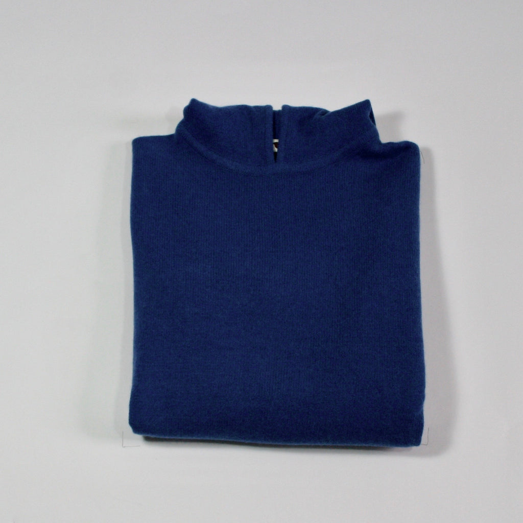 Mens 4ply Cashmere Hoodie Blue