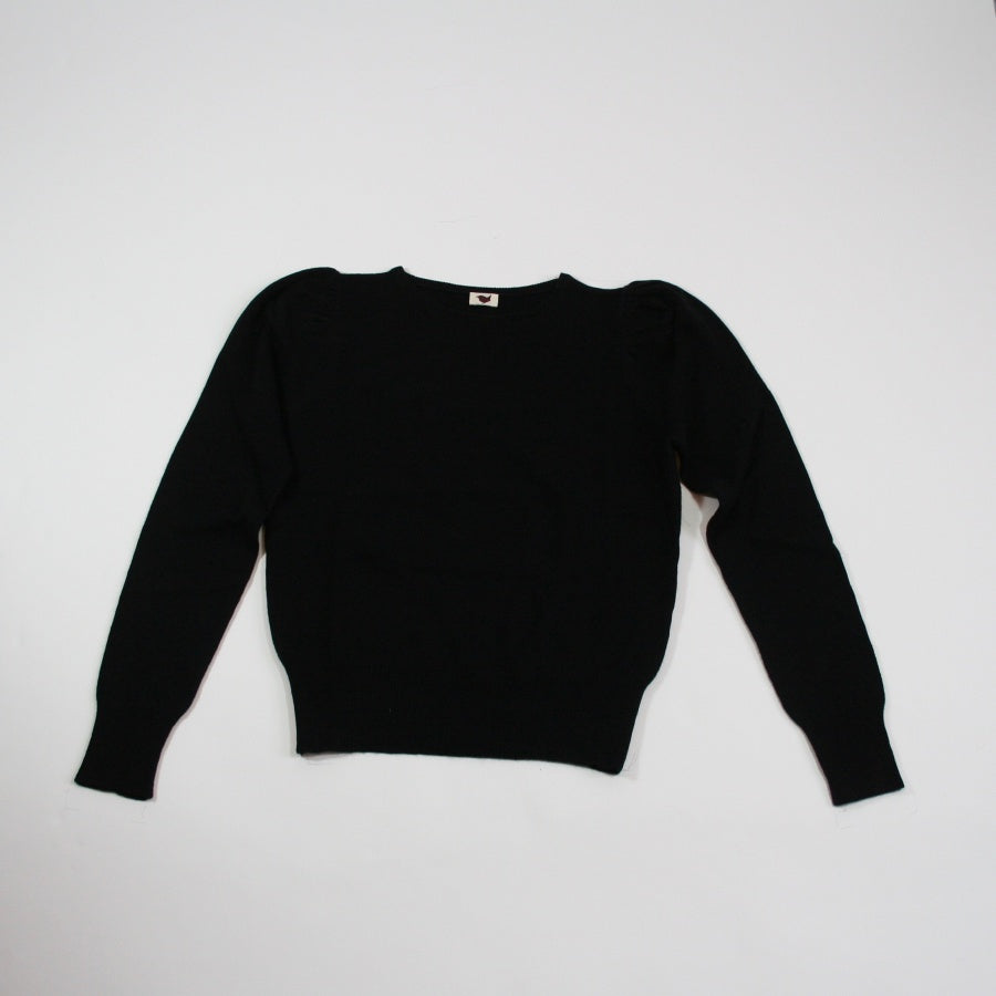Puffed Sleeve Cashmere Jumper Black