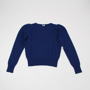 Puffed Sleeve Cashmere Jumper Blue