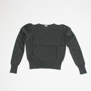 Puffed Sleeve Cashmere Jumper Charcoal