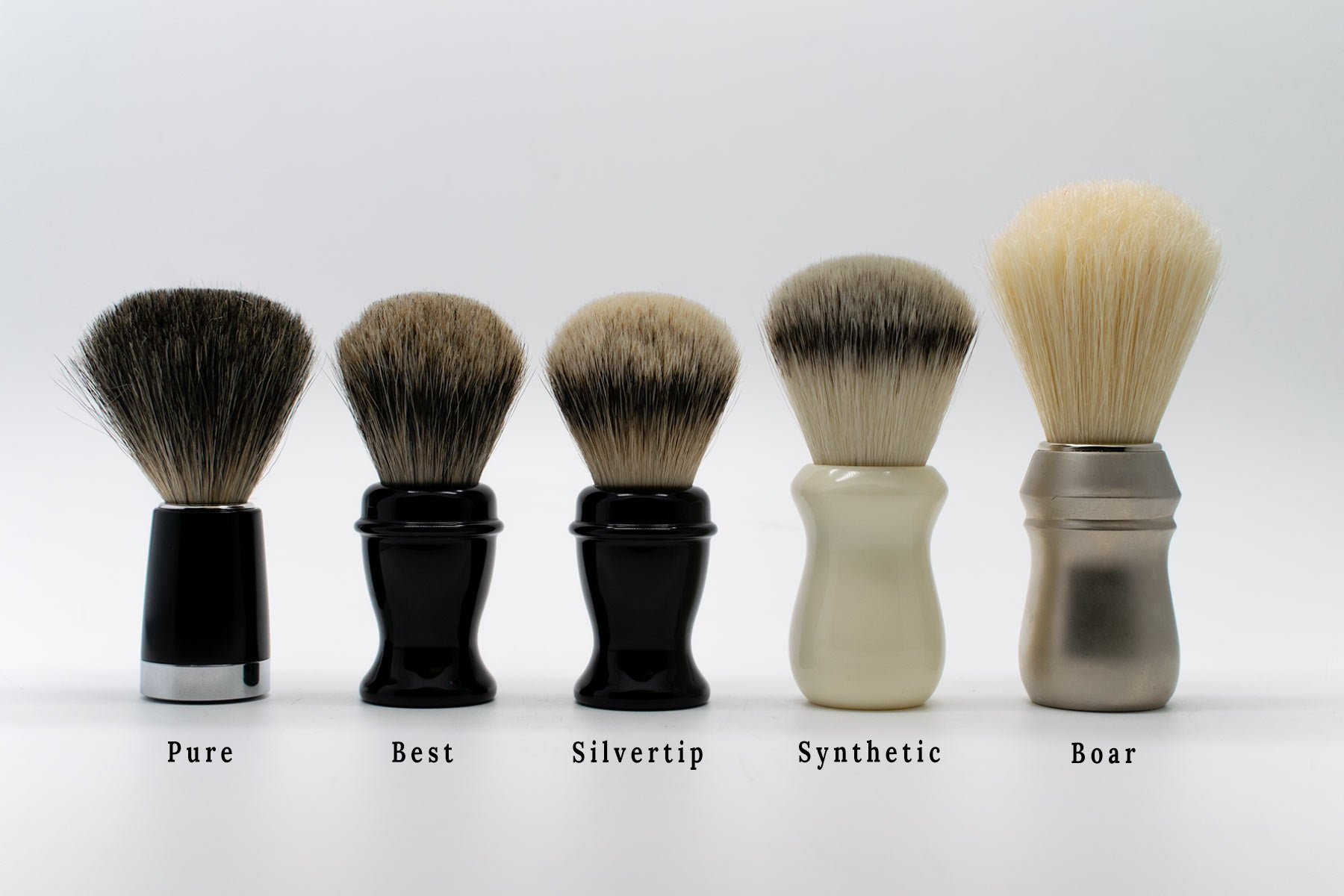 Shaving brush bristle types