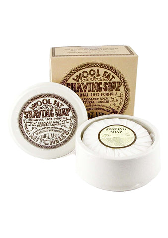 Mitchell's Wool Fat, HARD SHAVING SOAP in Porcelain Bowl