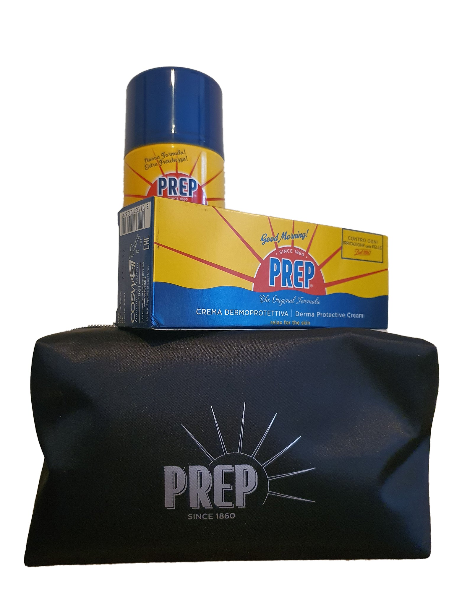 Prep, TOILETRY BAG  with SHAVING FOAM derma protective, 300ml and DERMA PROTECTIVE CREAM 75ml