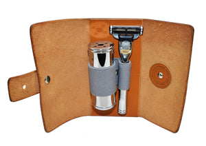 Muhle TRAVEL, VEGETABLE-TANNED COWHIDE TRAVEL CASE, MACH3 or FUSION 5 RAZOR & TRAVEL BRUSH