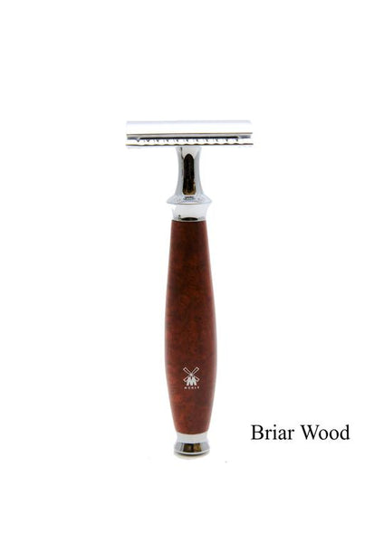 Muhle Purist double edge safety razor with briar wood handle