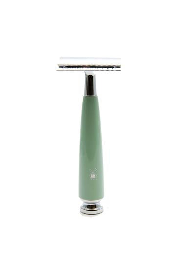 Muhle Rytmo double edge safety razor with closed comb and mint resin handle