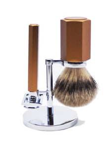 Muhle hexagon double edge safety razor set including stand and silvertip badger shaving brush with bronze handles