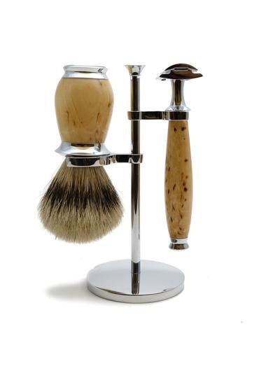 Muhle Purist double edge safety razor set including stand and silvertip badger shaving brush with birch wood handles