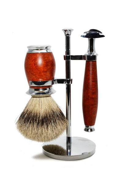 Muhle Purist double edge safety razor set including stand and silvertip badger shaving brush with briar wood handles
