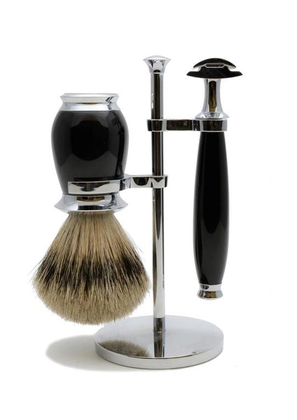 Muhle Purist double edge safety razor set including stand and silvertip badger shaving brush with black resin handles