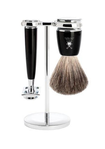 Muhle Rytmo double edge safety razor set including stand and pure badger shaving brush with black resin handles