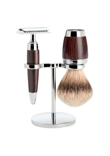 Muhle Stylo double edge safety razor set including stand and silvertip badger shaving brush with grenadilla wood handles
