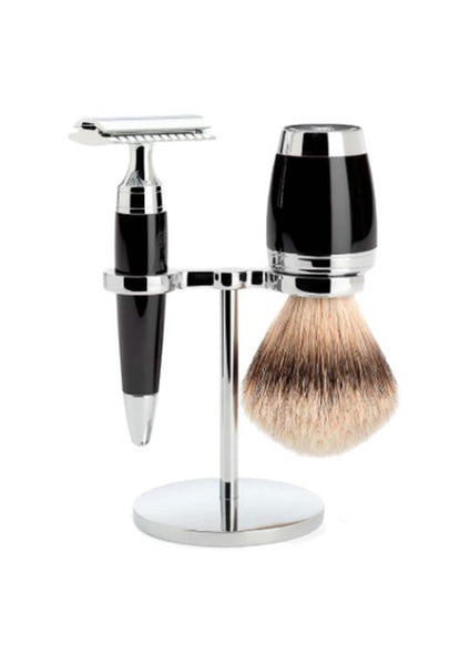Muhle Stylo double edge safety razor set including stand and silvertip badger shaving brush with black resin handles