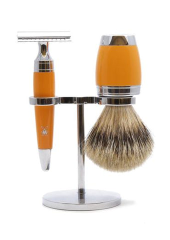Muhle Stylo double edge safety razor set including stand and silvertip badger shaving brush with butterscotch resin handles