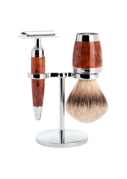 Muhle Stylo double edge safety razor set including stand and silvertip badger shaving brush with thuja wood handles