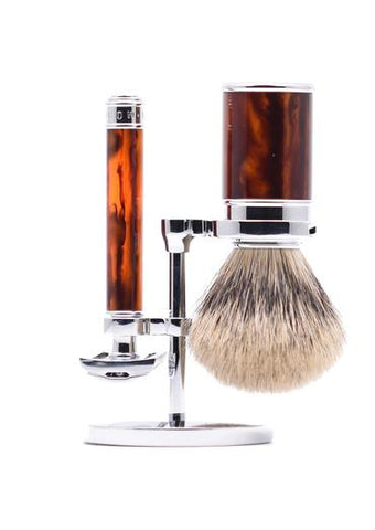 Muhle traditional double edge safety razor set including stand and silvertip badger shaving brush with tortoiseshell resin handles