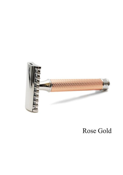 Muhle rose gold open comb traditional metal handle double edge safety razor