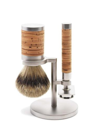 Muhle Rocca shaving set with stand including silvertip badger shaving brush and double edge safety razor with birch bark handles