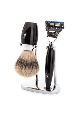 Muhle Kosmo Fusion 5 shaving set including stand with silvertip badger shaving brush and Fusion 5 razor with black resin handles