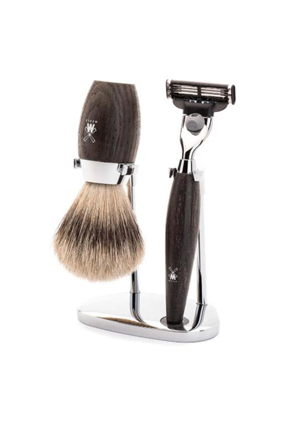 Muhle Kosmo Mach3 shaving set including stand with silvertip badger shaving brush and Mach3 razor with bog oak wood handles