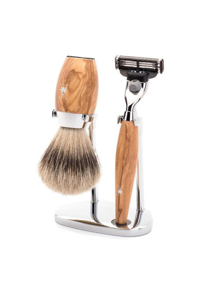 Muhle Kosmo Mach3 shaving set including stand with silvertip badger shaving brush and Mach3 razor with olive wood handles