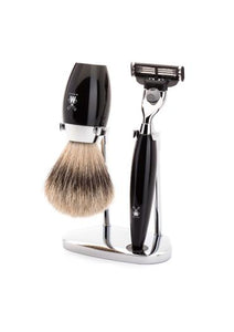 Muhle Kosmo Mach3 shaving set including stand with silvertip badger shaving brush and Mach3 razor with black resin handles