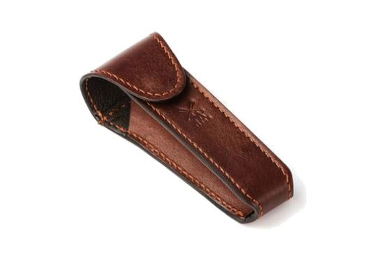 Muhle safety razor travel pouch in brown leather