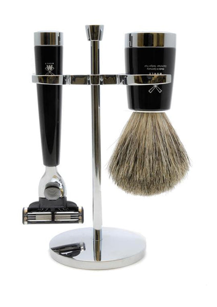 Muhle Liscio Mach3 shaving set including stand with pure badger shaving brush and Mach3 razor with black resin handles