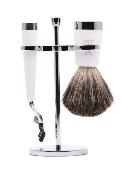 Muhle Liscio Mach3 shaving set including stand with pure badger shaving brush and Mach3 razor with white resin handles