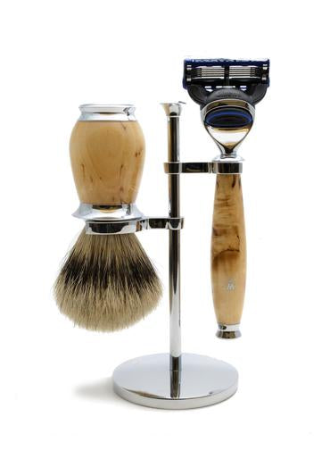 Muhle Purist Fusion 5 shaving set including stand with silvertip badger shaving brush and Fusion 5 razor with birch wood handles