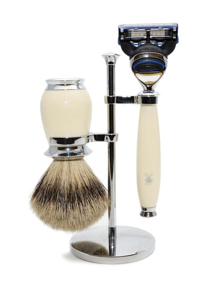 Muhle Purist Fusion 5 shaving set including stand with silvertip badger shaving brush and Fusion 5 razor with ivory resin handles