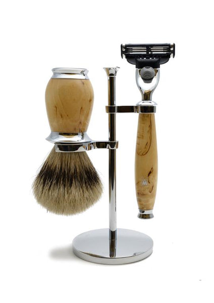 Muhle Purist Mach3 shaving set including stand with silvertip badger shaving brush and Mach3 razor with birch wood handles