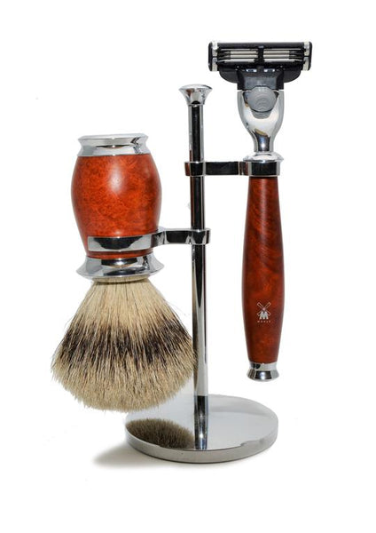 Muhle Purist Mach3 shaving set including stand with silvertip badger shaving brush and Mach3 razor with briar wood handles