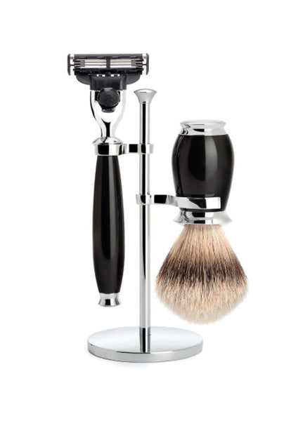 Muhle Purist Mach3 shaving set including stand with silvertip badger shaving brush and Mach3 razor with black resin handles
