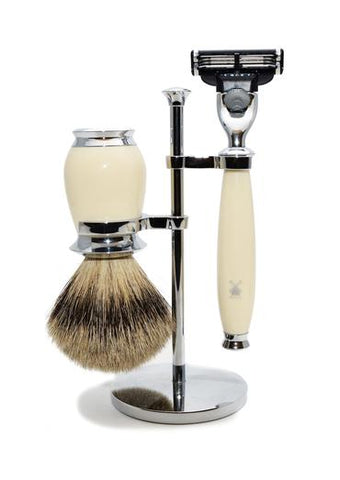 Muhle Purist Mach3 shaving set including stand with silvertip badger shaving brush and Mach3 razor with ivory resin handles