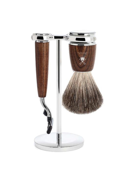 Muhle Rytmo Mach3 shaving set including stand with pure badger shaving brush and Mach3 razor with ash wood handles