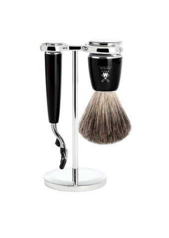 Muhle Rytmo Mach3 shaving set including stand with pure badger shaving brush and Mach3 razor with black resin handles