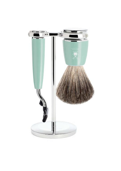 Muhle Rytmo Mach3 shaving set including stand with pure badger shaving brush and Mach3 razor with mint resin handles