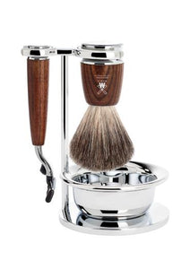 Muhle Rytmo Mach3 shaving set including stand and bowl with pure badger shaving brush and Mach3 razor with ash wood handles