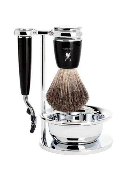 Muhle Rytmo Mach3 shaving set including stand and bowl with pure badger shaving brush and Mach3 razor with black resin handles