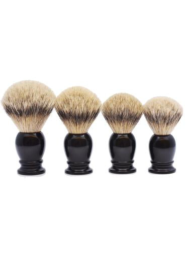 Muhle classic shaving brushes with silvertip badger bristles with black resin handles in sizes extra large, large, medium and small