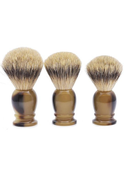 Muhle classic shaving brushes with silvertip badger bristles with horn resin handles in sizes large, medium and small