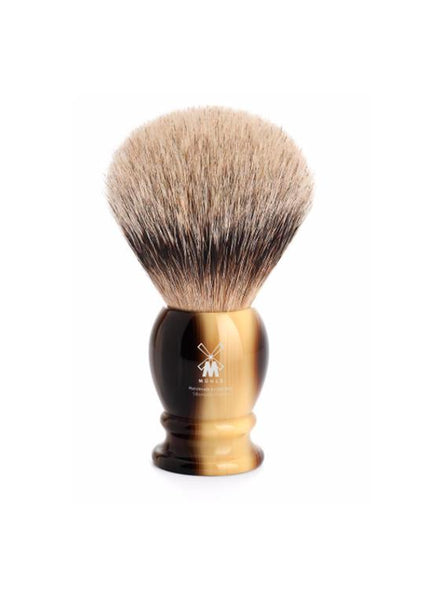 Extra large Muhle classic shaving brush with silvertip badger bristles and horn resin handle